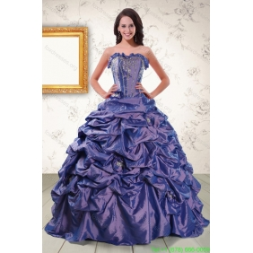 2015 Couture Beaded and Pick Ups Purple Quinceanera Dresses with Brush Train