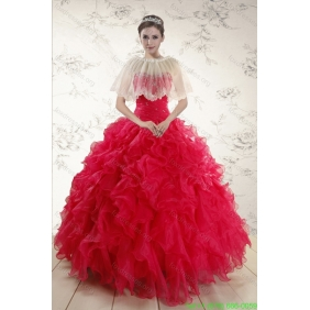 2015 Couture Sweetheart Beading Quinceanera Dresses in Red