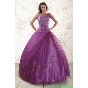 2015 Couture Sweetheart Purple Quinceanera Dresses with Appliques