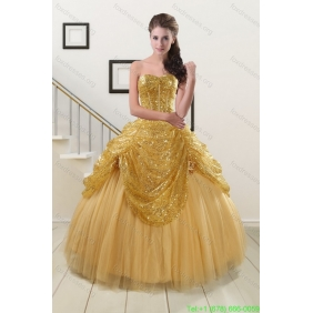 2015 Couture Sweetheart Sequined Quinceanera Dresses in Gold