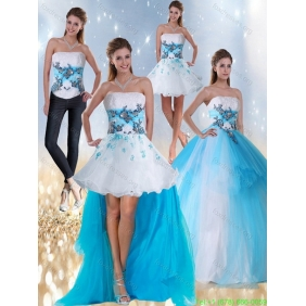 2015 Strapless Multi Color Quinceanera Dresses with Appliques and Beading