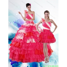 2015 Unique Multi Color Quinceanera Dresses with Ruffled Layers and Beading