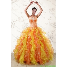 Couture Luxurious 2015 Quinceanera Dresses with Appliques and Ruffles