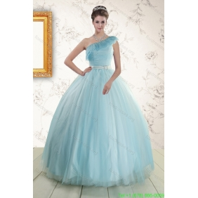 Couture One Shoulder Light Blue Quinceanera Dress for 2015