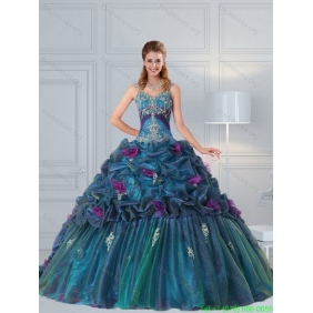 Cute Multi Color 2015 Quinceanera Dresses with Hand Made Flower and Pick Ups