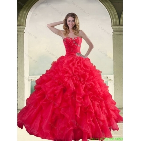 Elegant Red Strapless 2015 Quinceanera Dresses with Ruffles and Beading