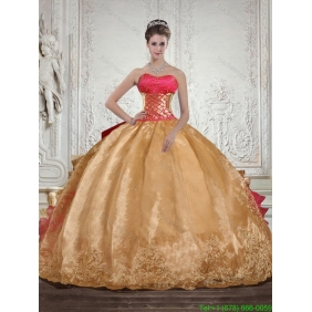 Luxurious Strapless Multi Color 2015 Quinceanera Dresses with Beading and Embroidery