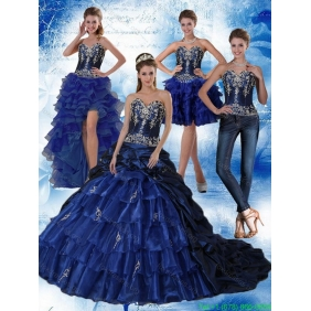 Navy Blue Sweetheart 2015 Quinceanera Dresses with Embroidery and Ruffles