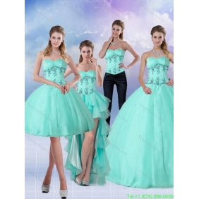 Pretty Apple Green Sweetheart 2015 Quinceanera Dresses with Appliques and Beading