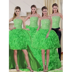Spring Green Strapless 2015 Quinceanera Dresses with Beading and Ruffles