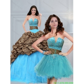 2015 Classic Leopard Printed Baby Blue Brush Train Beading Quinceanera Dress