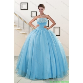 Couture Aqua Blue Super Hot Puffy Sweet 16 Dresses for 2015