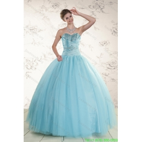 Couture Beading 2015 Quinceanera Dress in Baby Blue
