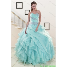 Couture Beading and Ruffles Quinceanera Dresses in Light Blue for 2015