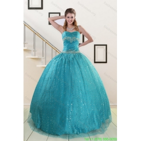 Couture Spaghetti Straps Appliques Sequins Turquoise Quinceanera Dresses for 2015