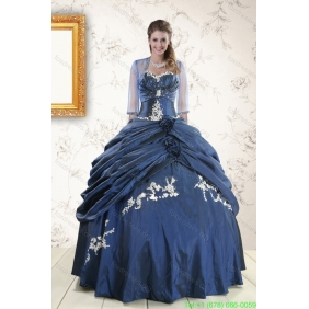 Couture Sweetheart Navy Blue Quinceanera Dresses with Wraps