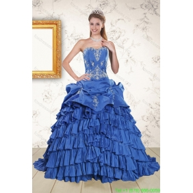 Modern Royal Blue Appliques and Pick Ups 2015 Quinceanera Dresses with Brush Train