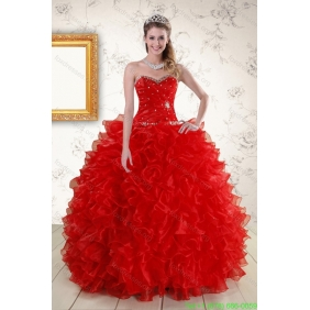 Pretty Ball Gown Sweetheart Red 2015 Quinceanera Dresses with Beading