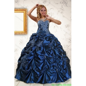 2015 Couture Appliques Navy Blue Quinceanera Dresses with Pick Ups
