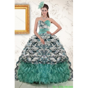 2015 Couture Turquoise Sweep Train Quinceanera Dresses with Beading and Picks Ups