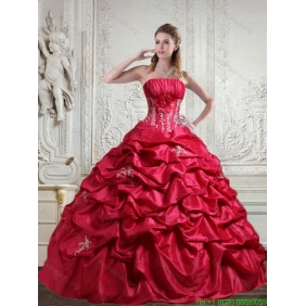 2015 Designer Appliques and Pick Ups Red Quinceanera Dress