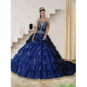 2015 Designer Embroidery and Beaded Strapless Quinceanera Dress in Navy Blue