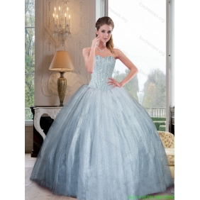 2015 Designer Sweetheart Ball Gown Quinceanera Dresses with Beading
