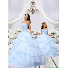2015 Luxurious Light Blue Princesita with Quinceanera Dress with Beading and Ruching
