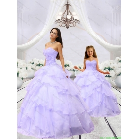 2015 Unique Beading and Ruching Princesita with Quinceanera Dress in Lavender