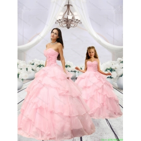 Beading and Hand Made Flower Princesita with Quinceanera Dress in Baby Pink with Ruching