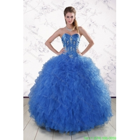 Couture Royal Blue 2015 Quinceanera Dresses with Appliques and Ruffles