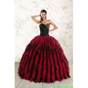 Couture Sweetheart Ruffles and Beaded Quinceanera Dresses in Red and Black