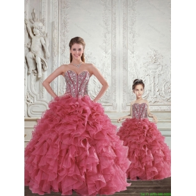 Romantic Beading and Ruffles Rust Red Princesita with Quinceanera Dress for 2015