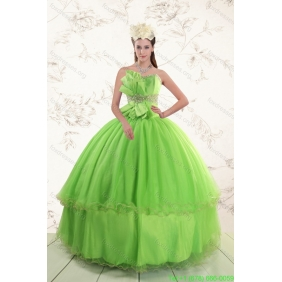 Spring Green 2015 Couture Sweetheart Quinceanera Dresses with Beading and Bowknot