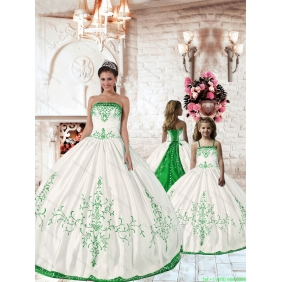 2015 Affordable Olive Green Embroidery Princesita with Quinceanera Dress in White