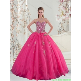 2015 New Style Sweetheart Hot Pink Sequins and Appliques Prom Dresses