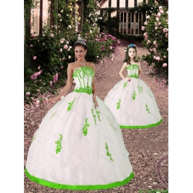 2015 Spring Appliques Princesita with Quinceanera Dress in White and Spring Green