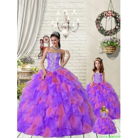 Beautiful Ruffles and Beading Princesitaith with Quinceanera Dress in Purple and Red for 2015