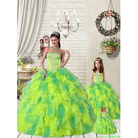 Wonderful Ruffles and Beading Yellow and Green Princesita with Quinceanera Dress for 2015