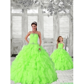 2015 Modest Spring Green Princesita with Quinceanera Dress with Beading and Ruching