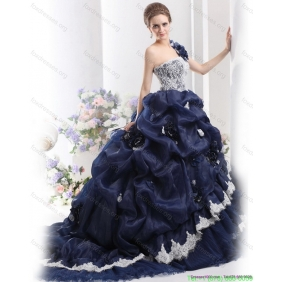 2015 New Style One Shoulder Ruffles Quinceanera Dresses with Hand Made Flowers and Pick Ups