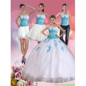 2015 Plus Size Strapless Beading and Appliques Quinceanera Dress in White and Blue