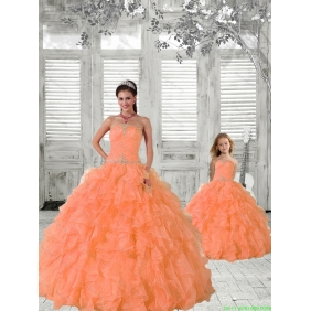2015 Top Seller Beading and Ruffles Princesita with Quinceanera Dress in Orange