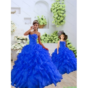 Customize Beading and Ruffles Princesita with Quinceanera  Dress in Royal Blue for 2015