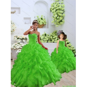 New Style Beading and Ruffles Princesita with Quinceanera Dress in Spring Green for 2015