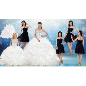 White Ball Gown Quinceanera Dress and Black Sweetheart Short Dama Dresses and Beading and Ruffles Little Girl Dress