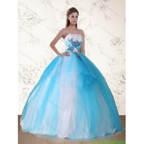 2015 Plus Size Multi Color Strapless Quinceanera Dress with Appliques and Beading