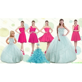 Apple Green Sweetheart Quinceanera Dress and Hot Pink Knee Length Prom Dresses and Beading and Ruffles Little Girl Dress