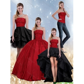 Beaded Strapless Ball Gown 2015 Plus Size  Quinceanera Dress in Red and Black