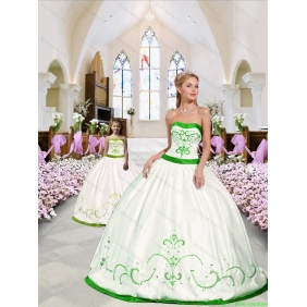 Beautiful Embroidery White and Spring Green Princesita With Quinceanera Dress for 2015 Spring